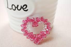 crystal beaded heart pendant