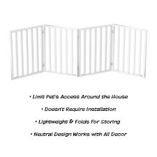 Shop Wooden Pet Gate Foldable 4 Panel Indoor Barrier Fence Freestanding 72 X24 By Petmaker Overstock 23527405