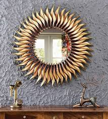metal round wall mirror in yellow