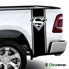 Superman Logo Rear Truck Bed Graphic Decal Racing Vinyl Stripes Sticker Kit Chicocanvas