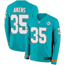 Nike Walt Aikens Men's Aqua Limited Jersey: #35 NFL Miami Dolphins Therma  Long Sleeve
