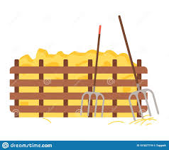 Hay Protected With Wooden Fence Hayfork Tool Stock Vector Illustration Of Hayfork Fork 151627719