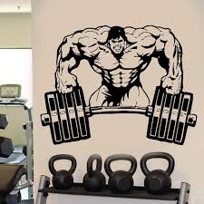 Wall Decal Room Sticker Gym Weights Bodybuilding Muscle Man Crossfit E655 Room Stickers Gym Stickerswall Decals Stickers Aliexpress