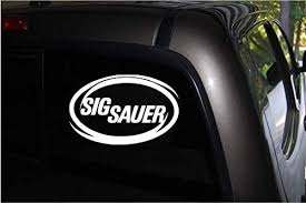 Amazon Com Sig Sauer White Oval Vinyl Decal Sticker For Car Truck Van Window 5 9 X 3 8 White Automotive