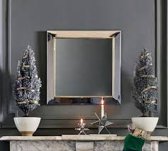 mirrored frame silver square wall mirror
