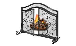 costway fireplace screen with hinged
