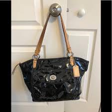 leah black embossed patent leather bag