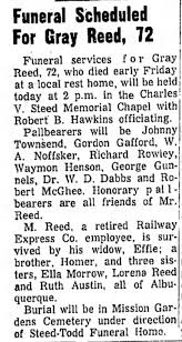 Obituary of Gray Reed, 2nd husband of Effie Ewing - Newspapers.com