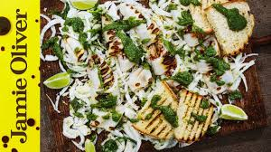 Chargrilled squid with a pesto dressing ...