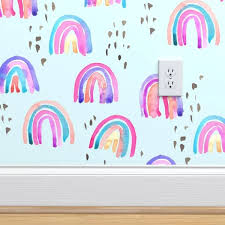 Ebern Designs Payden Watercolor Rainbow Removable Peel And Stick Wallpaper Roll Wayfair Peel And Stick Wallpaper Rainbow Wallpaper Rainbow Sky