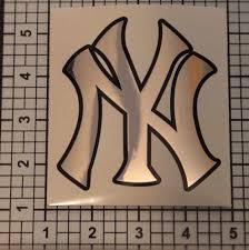 Yankees Decal Baseball Chrome Black Graphic Sticker