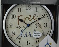 Free As A Bird Wall Clock Silver Red Wall Decal Birdhouse Glass Metal Hands Red Ebay