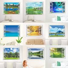 Nature Landscape 3d Window View Wall Stickers For Living Room Bedroom Decorative Decoration Home Pvc Decor Mural Wall Art Decals Kt1c Floral Wall Stickers Flower Wall Decal From Dianxinkai 21 1 Dhgate Com