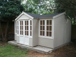Summer Houses Essex Cuprinol Natural Stone And Pale Jasmine Summer House Paint Garden Cabins Cuprinol Natural Stone