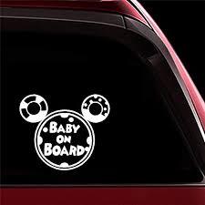 Amazon Com Ytedad Car Sticker Car Decal 14x12cm Cartoon Mickey Mouse Baby On Board Decal Car Body Window Door Rear Windshield Home Kitchen
