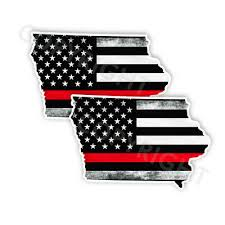 Motors Thin Red Line Decal State Missouri Window Vinyl Sticker Various Size Distress Car Truck Graphics Decals