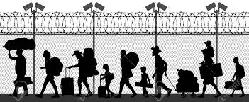 Migration Of People Across The Border Near The Fence With Cameras Royalty Free Cliparts Vectors And Stock Illustration Image 142115462
