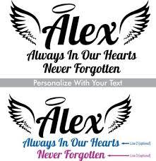 Custom Memorial Angel Name Style 4 Vinyl Die Cut Car Decal Starting At 12 99 Angel Names In Loving Memory Car Window Decals