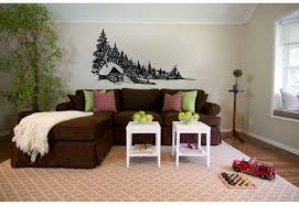 Loon Peak Bernal Log Cabin And Pine Trees Vinyl Graphic Wall Decal Wayfair