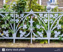 Decorative Wrought Iron Metalwork Fence With Floral Design Around Stock Photo Alamy