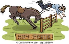 The Horse Didn T Want To Jump Over The Fence Instead A Cowboy Flew Over An Obstacle Picture Show Man Error