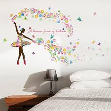 Amazon Com Staron New Butterfly Flower Fairy Wall Stickers Home Decors Removable Mural Wallpaper Girls Room Bedroom Wall Decals Home Kitchen