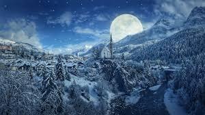 wallpaper winter moon mounns pine