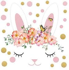 Amazon Com Aiyang Cute Rabbit Wall Decals Bunnies Wall Stickers With Pink Gold Dots Flowers Wall Art For Easter Holiday Wall Decor Girl S Bedroom Window Decoration White Pink Gold Kitchen Dining