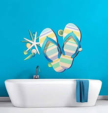 Amazon Com Tropical Retreat Relax Beach Flip Flops Wall Decal 15 X 12 Home Kitchen
