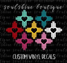 Heart Zia Symbol Decal New Mexico Love For Car Window Laptop Yeti Ozark Rtic Tumbler Southwest Christmas Craft Fair Mexico Crafts Symbols