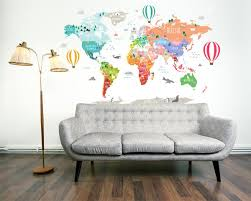 Hot Air Balloon World Map Decal Clear Vinyl Decal Nursery Room Dec Walls2lifedecals