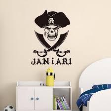 Customized Name Pirate Skull Cross Swords Vinyl Wall Sticker Removable Boys Bedroom