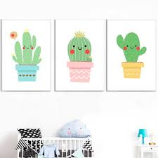 Smiling Cartoon Cactus Wall Art For Kids Bedroom Gallery Wallrus Free Worldwide Shipping