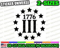 3 Three Percenters 1776 Car Window Decal Bumper Sticker Betsy Etsy
