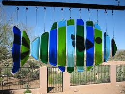 fused glass fish windchime with images