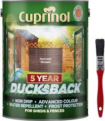 New 2020 Cuprinol Ducksback Shed Fence Paint 5 Litre Harvest Brown Non Drip Water Repellent And Frost Defence Protection For 5 Years Includes Psp Touch Up Brush Amazon Co Uk Diy Tools