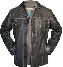 men s sanded calf leather ranch coat