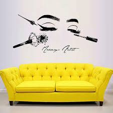 Beauty Salon Cosmetics Tools Make Up Wall Stickers For Wall Girl Face Wall Decal Model Girl Eyes Lips Wall Decor Beauty Salon G1 Leather Bag