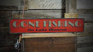 custom lake house gone fishing sign
