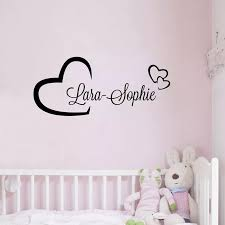 Personalised Hearts Girls Name Vinyl Wall Decal Sticker Girls Bedroom Or Door Decor Sticker Kid Sticker Accessoriesbedroom Quilt Aliexpress