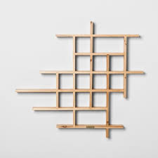 wooden shelves open storage space in a