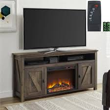 barn door media center fireplace heater