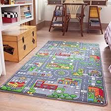 Amazon Com The Rug House Children S Play Village Mat Town City Roads Rug 100cmx165cm 3ft3 X5ft5 Home Kitchen