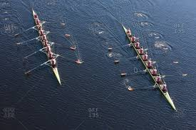 Above view of two rowing eights in water | Stock Images Page ...