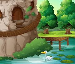 a beautiful scenery with a duck