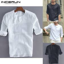 mens linen cotton henley t shirt half