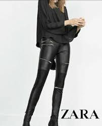 zara black skinny faux leather trousers