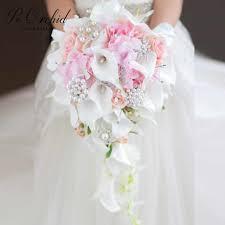 بروش فلوريس Novia باقات زفاف الوردي الأحمر الأزرق بوكيه ورد صناعي