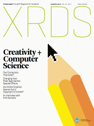 """XRDS"" written in light green letters on a white background with a graphic image of a pencil for the cover image."