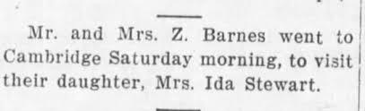 Zachariah and Martha Garton Barnes-visit to daughter Ida Barnes Stewart -  Newspapers.com